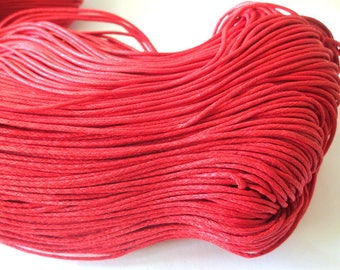 10 meters of thread waxed cotton Red 1.5 mm