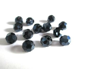 10 round faceted Crystal 6mm black beads