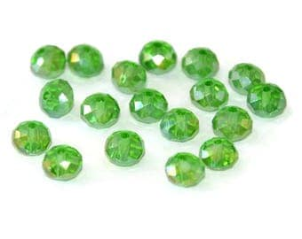 10 green Crystal beads iridescent rondelle's faceted 6x8mm