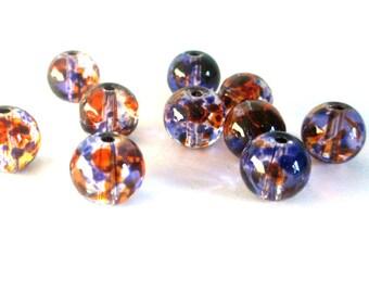 20 drawbench beads transparent orange and purple 8mm round glass