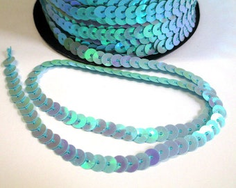 5 m Ribbon 6mm light blue sequin trim