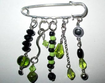Green and black brooch with pendants ღ ღ / unique Piece!
