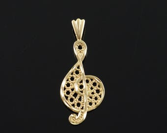 14k Filigree Treble Clef Musical Note Charm/Pendant Gold