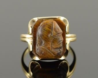 8k Carved Tiger's Eye Soldier Man's Face Ring Gold