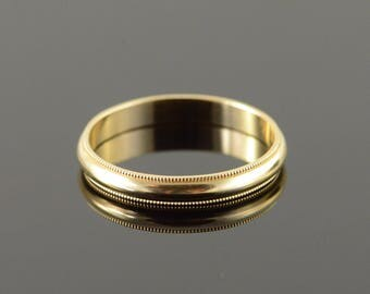 14k 3.2mm Plain Rounded Milgrain Wedding Band Ring Gold
