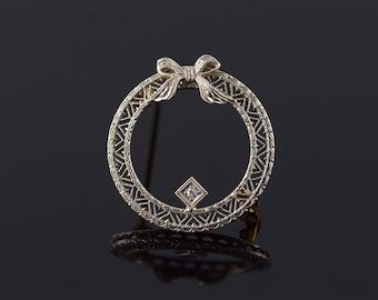 14k 1950's Diamond Filigree Circle Ribbon Bow Pin/Brooch Gold