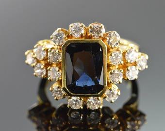 18k 4.00 CW Sapphire 1.80 Ctw Diamond Statement Ring Gold