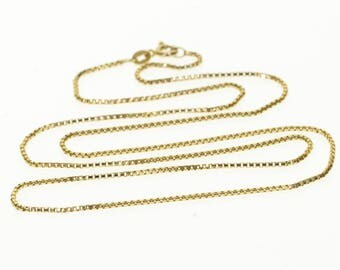 14k 1.2mm Box Link Chain Necklace Gold 22""