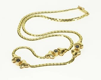 """14k Sapphire Round Curve Pressed Anchor Link Necklace Gold 15.25"""""""