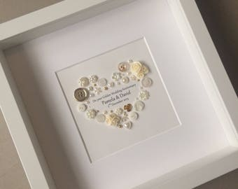 Golden Anniversary Art 50th Button Traditional Gift Wedding Present
