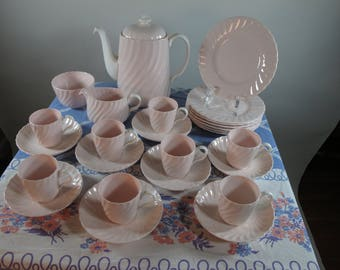 On SALE Now! 20% Off! Only Made For One Year! Gorgeous 27 Piece 1947 Minton Shell Pink Demitasse Coffee Set Service for 8!!