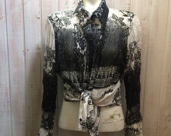 Vintage blouse, Bohemian, sheer blouse Gypsy black and white, size 18, transparent