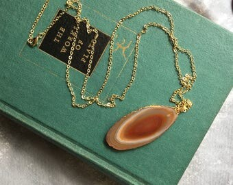 "Brown / Orange Agate Sliced Geode Necklace | Gold Painted Rim | 30"" Chain 