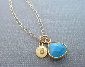 Small Turquoise Necklace /Natural Turquoise Gold Initial / Blue Turquoise Gold Necklace /December Birthstone/ Blue Gold Necklace //BE13