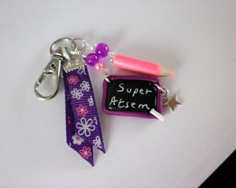 bag charm great school pencil and slate school & gift thanks aides