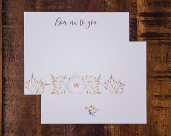 Tea & Florals Flat Note Card Set