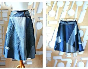 Denim skirt A line skirt Wrap skirt Goa Boho Psy Festival Hippie Grunge Patchwork Hipster Skater skirt Maxi skirt Cotton Steampunk Casual