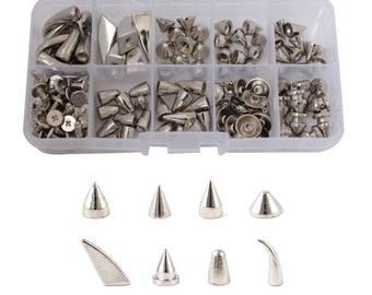 85 Pcs Metal Spike Punk Bullet Stud Belt Clothes with Screw, Rivet in Silver