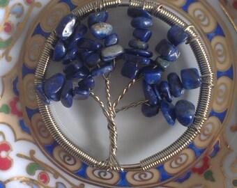 Tree of life Lapis Lazuli chips pendant