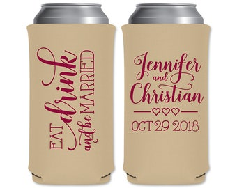 8.3oz Slim Can Coolers Beverage Insulators Personalized Wedding Favors | Eat Drink Be Married (6A) | Red Bull/Mich Ultra | READ DESCRIPTION