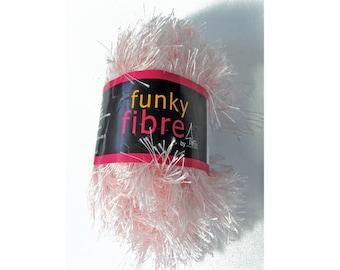 1 Skein Funky Fiber by Sierra Pacific Crafts, Pink Eyelash Yarn, Polyester, 50grams, appx. 51m