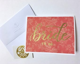 Gold Embossed Bride-To-Be Card