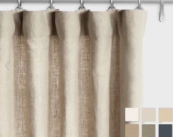 Pair of Belgian Linen Curtains, Canvas weight linen, custom curtains, extra long curtains, 12 Color Choices
