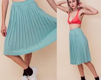 Spearmint Accordion Blue Vintage High Waisted Midi Skirt