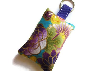 rectangular fabric Keychain, Japanese, multicolor, green fabric