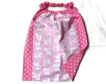 towel canteen elasticated, kids table, cats, dots, pink, white