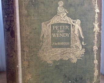Peter and Wendy, J.M. Barrie, 1911, first edition, second printing, rare illustrated rare children's classic, antique book, Peter Pan