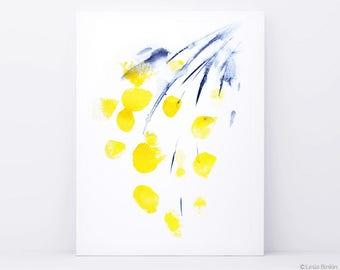 Watercolor yellow flowers print, yellow painting, flowers painting,  floral home decor, watercolor art, art by Lesia Binkin