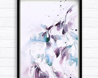 Abstract watercolor, floral watercolor art, turquoise art, abstract wall decor, nature art, abstract watercolor painting, japanese style art