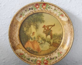 Small Vintage Round Framed Art by Lancret, 'Music Lesson', Florentine Frame, Italy