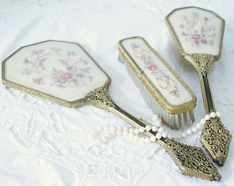 Antique Brass Filigree Vanity Set , Mirror, Brush and Clothing Brush, Petit Point Flower Decor, England