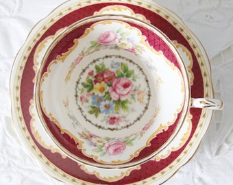 Vintage EB Foley Bone China Teacup and Saucer, Windsor Pattern, Made in England