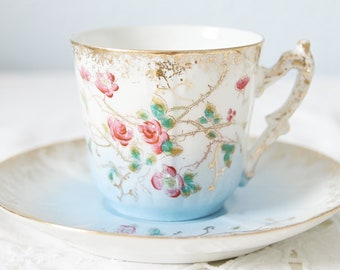 Delicate Antique Demitasse Cup and Saucer with Handpainted Pink Flower and Butterfly Decor, Gradient Blue