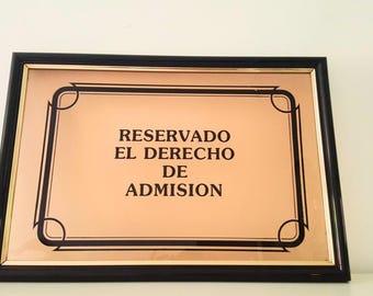 Cartel admisión vintage / vintage admission placard
