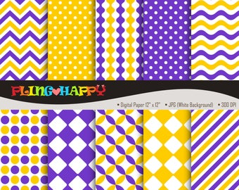 70% OFF Yellow And Purple Digital Papers, Chevron/Polka Dot/Wave/Stripe Pattern Graphics, Personal & Small Commercial Use, Instant Download