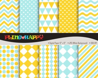 70% OFF Yellow And Turquoise Digital Papers, Chevron/Polka Dot/Wave/Stripe Pattern, Personal & Small Commercial Use, Instant Download