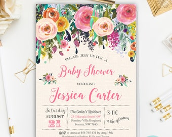 Floral Baby Shower Invitation, Floral Baby Shower, Girl Baby Shower Invitation, Floral Invitation Printable, Digital File
