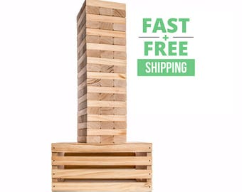 Giant Tower Game with Storage Crate / Game Table Set | Wedding Guest Book Alternative | Jumbo Lawn Games | Big Yard Games | Large Blocks