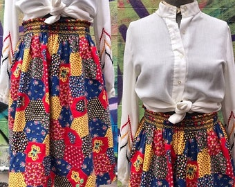 20% OFF W25-32 / 1960s PATCHWORK Peasant Circle Skirt