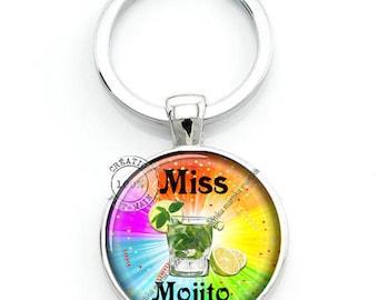 Cabochons glass 25 mm fun miss mojito keychain