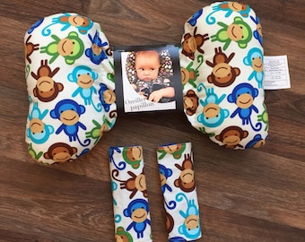 Butterfly and strap covers monkey boy pillow