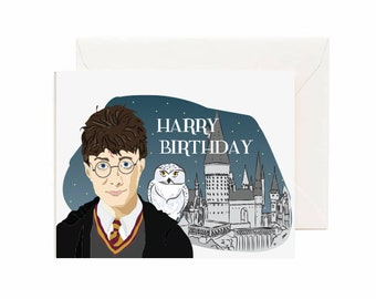 "Realistic Harry Potter & Hogwarts ""Harry Birthday"" Greeting Card"