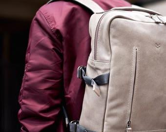 Grey Leather Backpack for men, rucksack, 13 inch laptop backpack, back to school. Travel designer bag. Personalized gifts for men. Mens bags