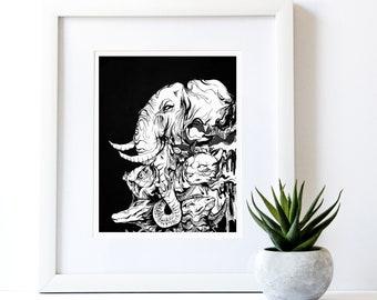 animals art print, black and white wall decor, apartment art, animals illustration, black and white lover, surreal, 8x10 11x14, boho gift