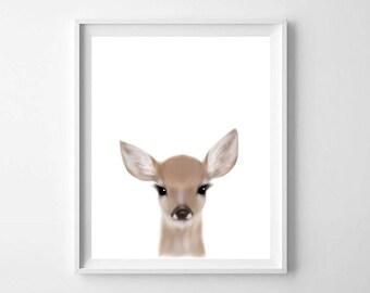 Deer Print, Printable Art, Baby animal print, Baby deer print, Nursery decor, Animal art, Fawn print, Baby animals, Nursery wall art