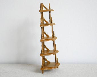 Dollhouse coner shelves dolls house 5 tiered shelves shelving 1 12th scale miniature